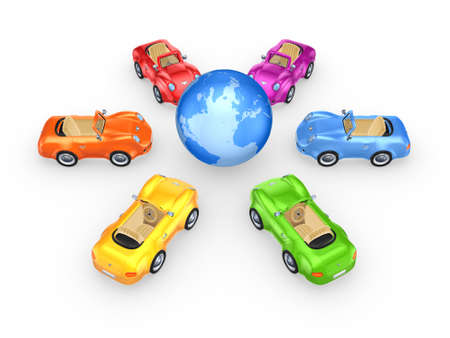 Colorful cars around globe  photo