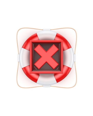 Red cross mark on lifebuoy  photo