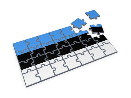 estonian: Estonian flag made of puzzles  Stock Photo
