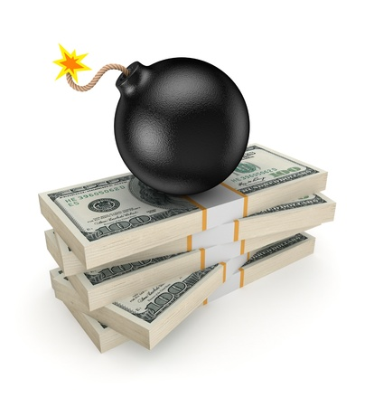 Black bomb on a stack of dollars Stock Photo - 20208923