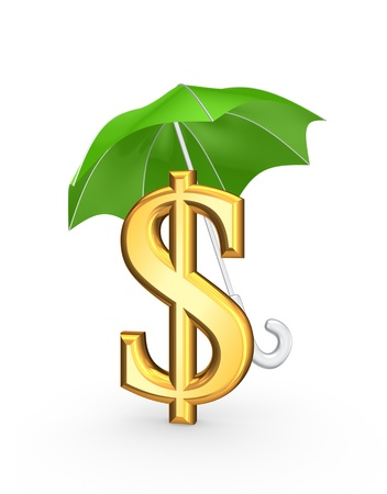 Golden sign of dollar under green umbrella  photo