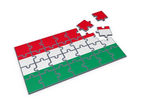 Hungarian flag made of puzzles  photo