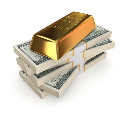Goldbar on a stack of dollars
