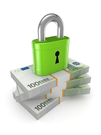 Green lock on a stack of euro Stock Photo - 20208887