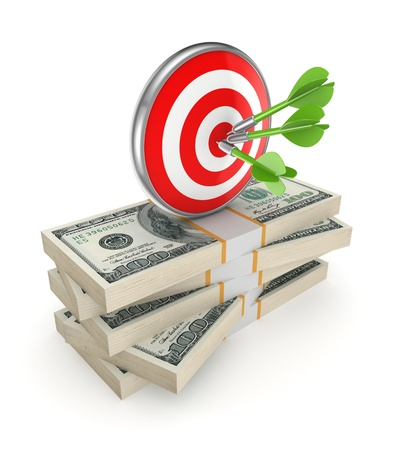 Dartboard on a stack of dollars Stock Photo - 20208925