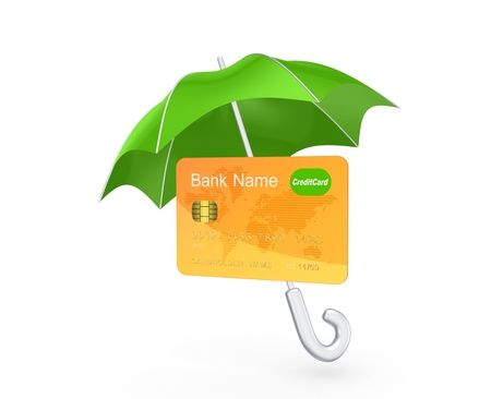 Credit card under green umbrella  Stock Photo - 20208881