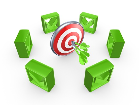 green tick: Green tick marks around dartboard  Stock Photo
