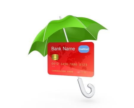 Credit card under green umbrella Stock Photo - 20224438