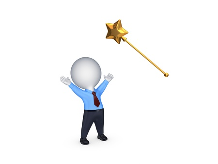 Small person and magic wand  Stock Photo
