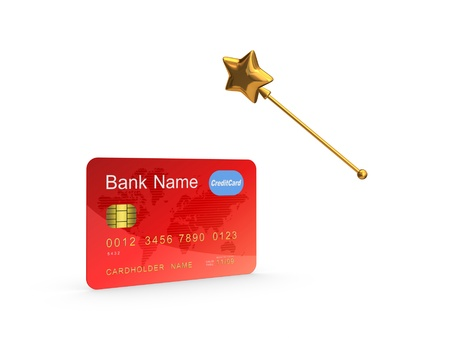 Credit card and golden magic wand  Stock Photo - 20224415