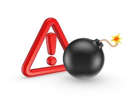 Exclamation mark and black bomb  Stock Photo - 20224456