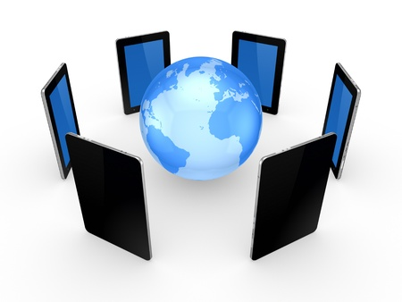 Tablet PCs around globe Stock Photo - 20309273