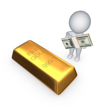 Gold bar and 3d small person with stack of dollars  photo