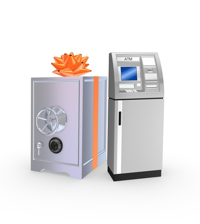 Iron safe and ATM Stock Photo - 20309260