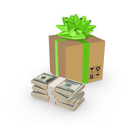 profit celebration: Carton box and stack of dollars
