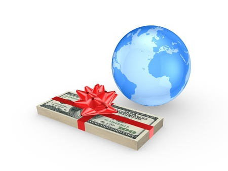 Stack of euro and globe  Stock Photo - 20309304