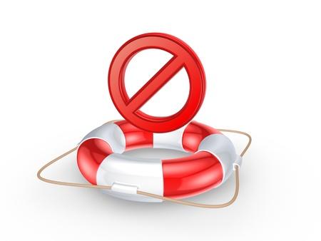 ban aid: Lifebuoy and forbid symbol