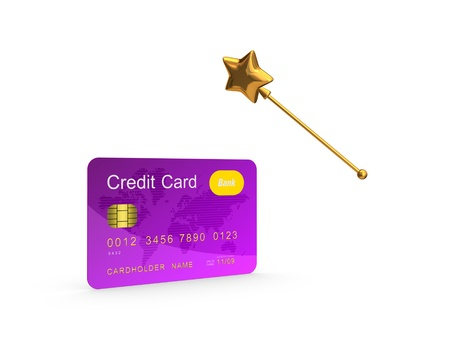 Credit card and golden magic wand Stock Photo - 20309249