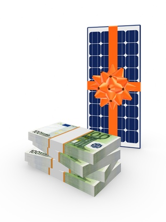 Stack of dollars and solar battery  Stock Photo - 20309319