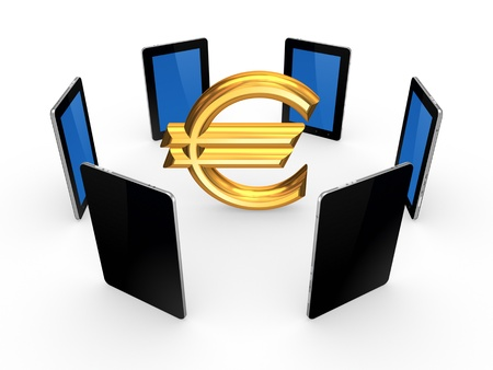 Tablet PCs around sign of euro.Isolated on white.3d rendered. Stock Photo - 20309284