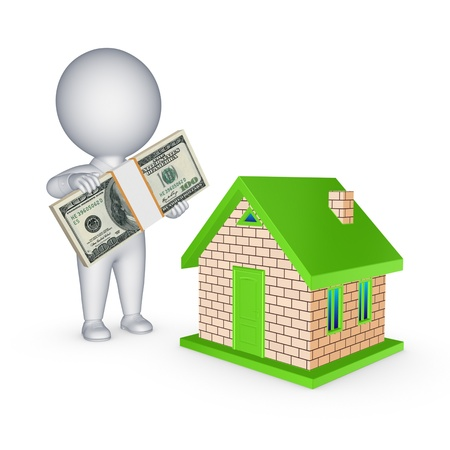 passive earnings: Real estate concept.Isolated on white.3d rendered.