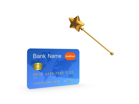 Credit card and golden magic wand.Isolated on white.3d rendered. Stock Photo - 20309253