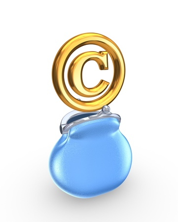 authorship: Blue purse and symbol of copyright  Stock Photo