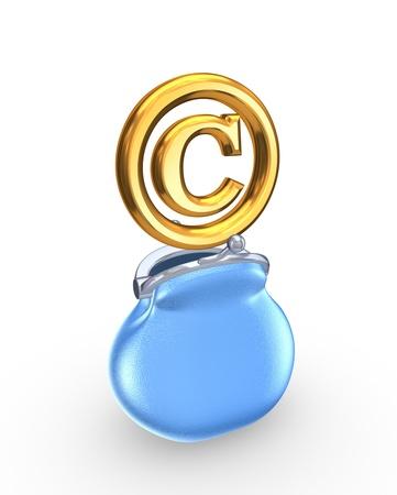 authorship: Blue purse and symbol of copyright  Stock Photo