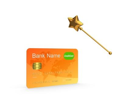 Credit card and golden magic wand Stock Photo - 20654688