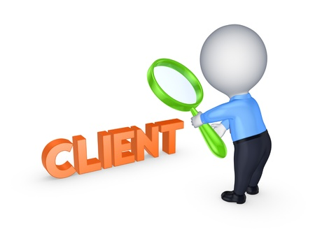 Small person and word CLIENT  Stock Photo
