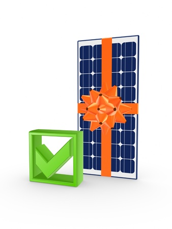 Solar battery and tick mark Stock Photo - 20654811