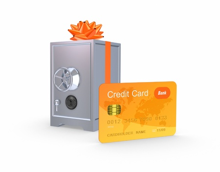 Iron safe and credit card  Stock Photo - 20654920