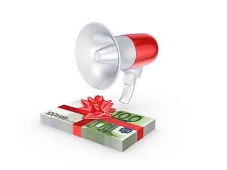 speaking trumpet: Megaphone and stack of dollars