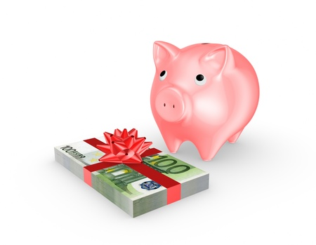 Pink piggy bank and stack of euro  Stock Photo - 20654846