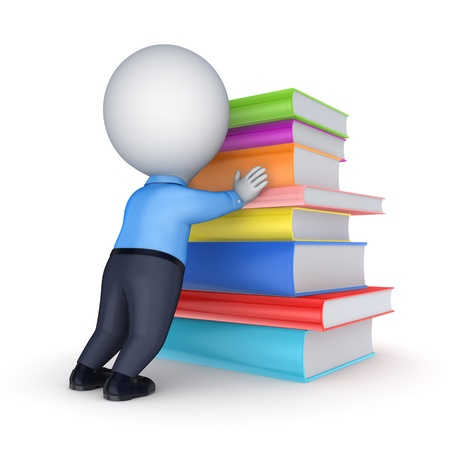 3d small person and big stack of books Stock Photo - 20654831