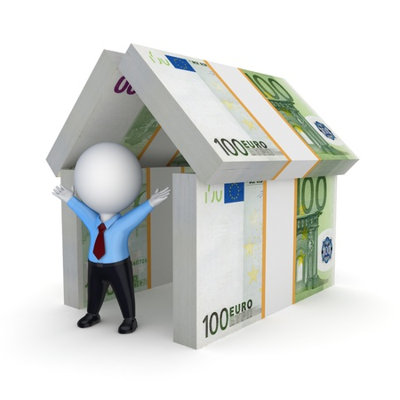 3d person under the roof of euro Stock Photo - 20654915