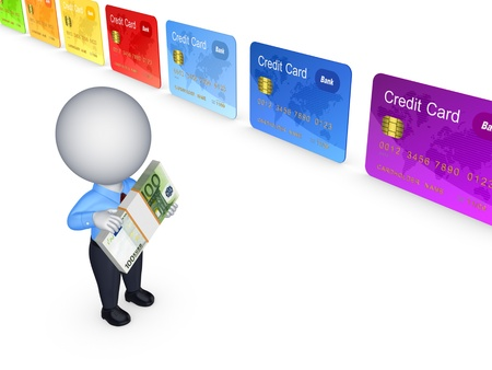 3d person and colorful credit cards  photo