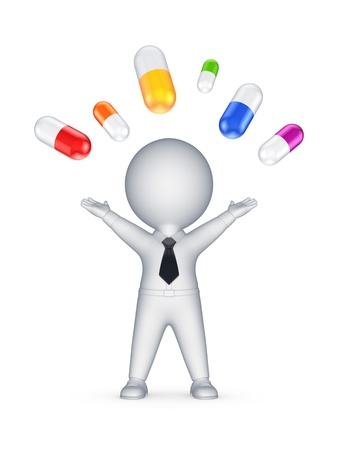 Happy 3d person and colorful pills