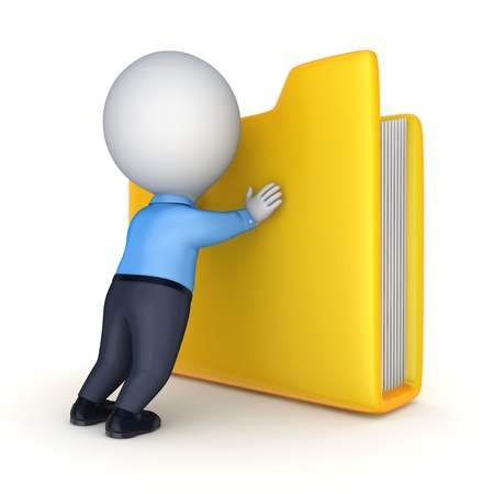 3d person and yellow folder  photo