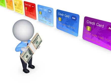 3d small person and colorful credit cards  photo