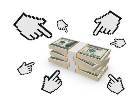 financial services: Cursors and stack of dollars