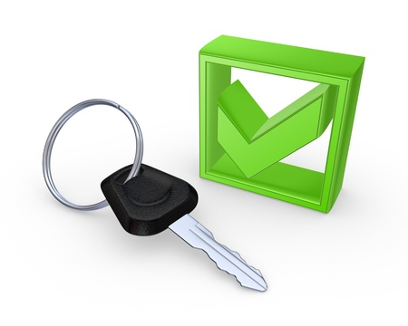 Key from car and green tick mark  Stock Photo - 20724684