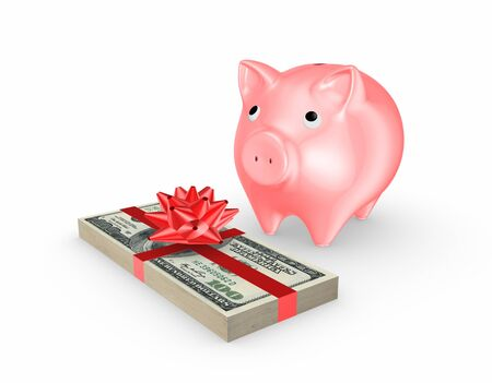 Pink piggy bank and stack of dollars  Stock Photo - 20724717