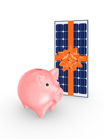 electricity 3d: Pink piggy bank and solar battery  Stock Photo