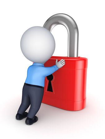 3d person and red lock  photo
