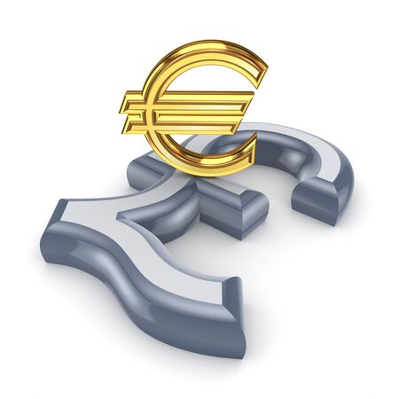 pound sterling: Pound sterling and euro  Stock Photo