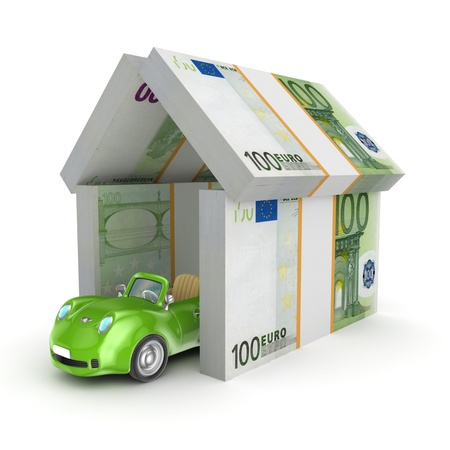 Green car under the roof of euro  photo
