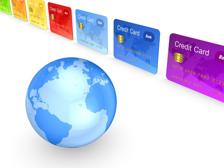 Globe and colorful credit cards  photo