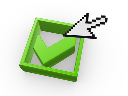 green tick: Arrow and green tick mark