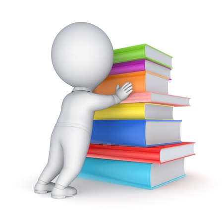 3d small person and big stack of books Stock Photo - 20724808